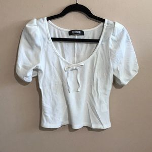 White Puff Sleeve Reformation Top